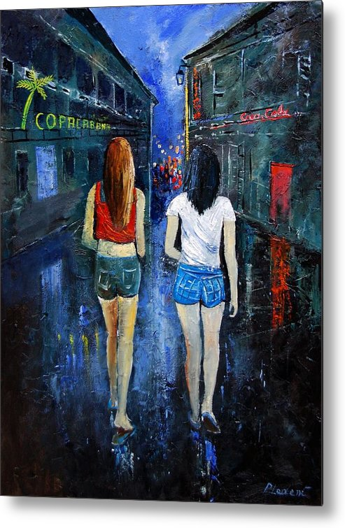 Girl Metal Print featuring the painting Going Out Tonight by Pol Ledent