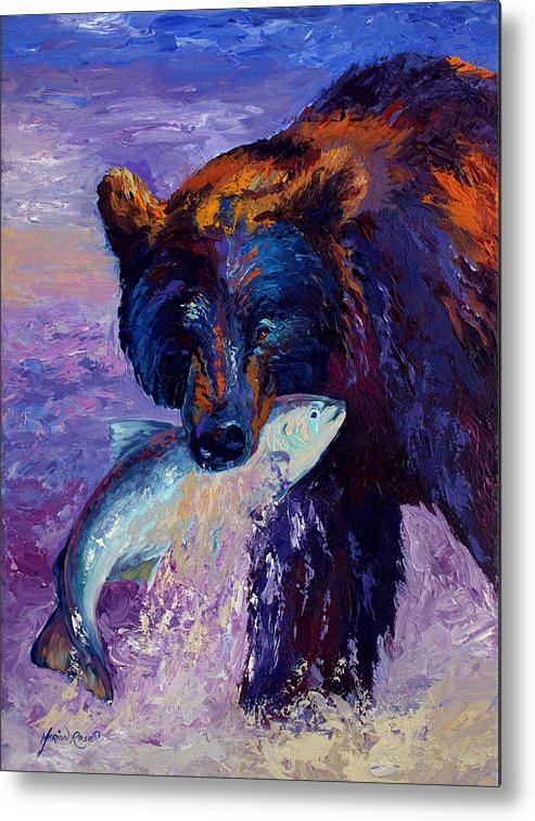 Bear Metal Print featuring the painting Heartbeats Of The Wild by Marion Rose