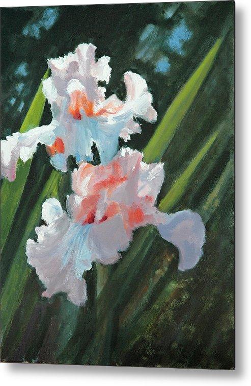 Irises Metal Print featuring the painting Iris Pour Une Belle Femme by Glenn Secrest