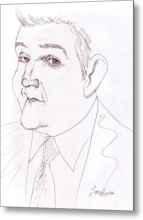 Jay Leno Metal Print featuring the drawing Jay Leno by M Valeriano