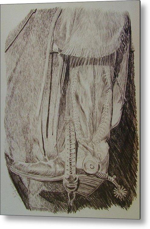 Boot Metal Print featuring the drawing Jingle Bob by Dan Hausel