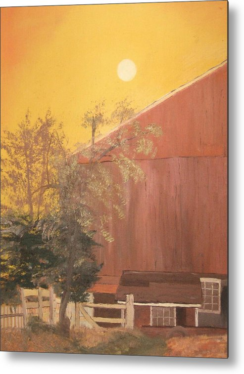 Landscape Metal Print featuring the painting Just Another Farm by L A Raven