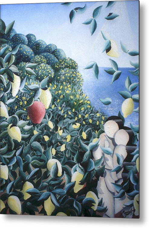 Landscape Metal Print featuring the painting Lemon Trees by Massimiliano Stanco