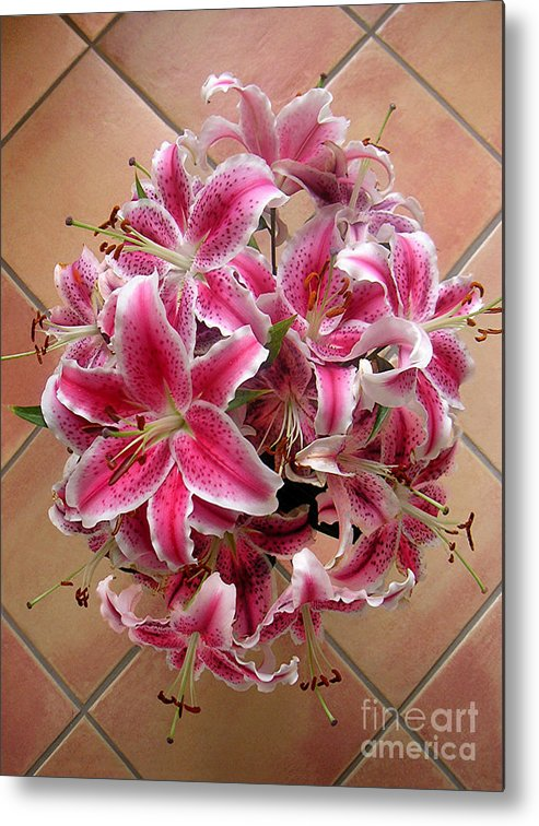 Nature Metal Print featuring the photograph Lilies Gathered On Tile by Lucyna A M Green