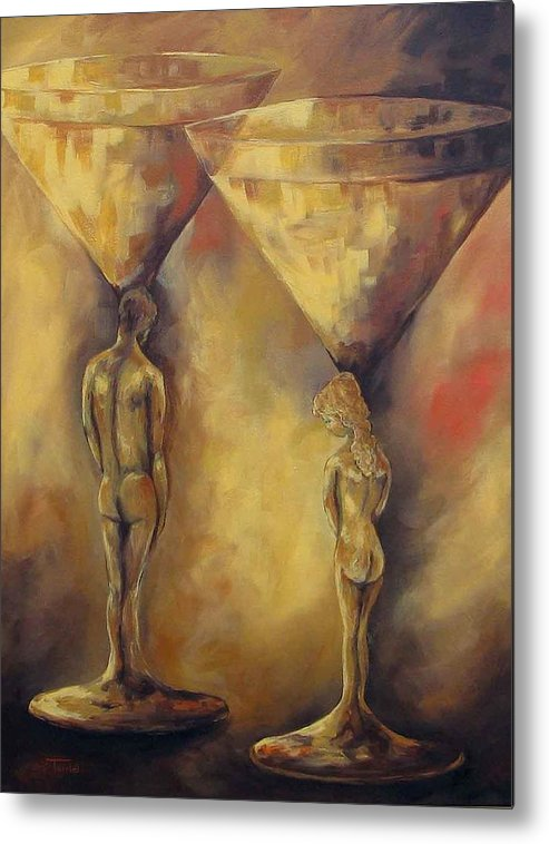 Martini Metal Print featuring the painting Marriage Of The Martinis by Torrie Smiley