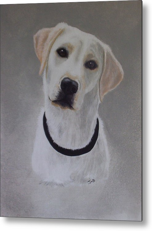 Pet Portrait Metal Print featuring the painting Maxie by Janice M Booth