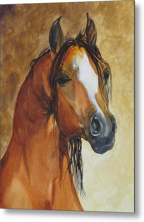 Eqine Metal Print featuring the painting May I Have One Too Please by Gina Hall