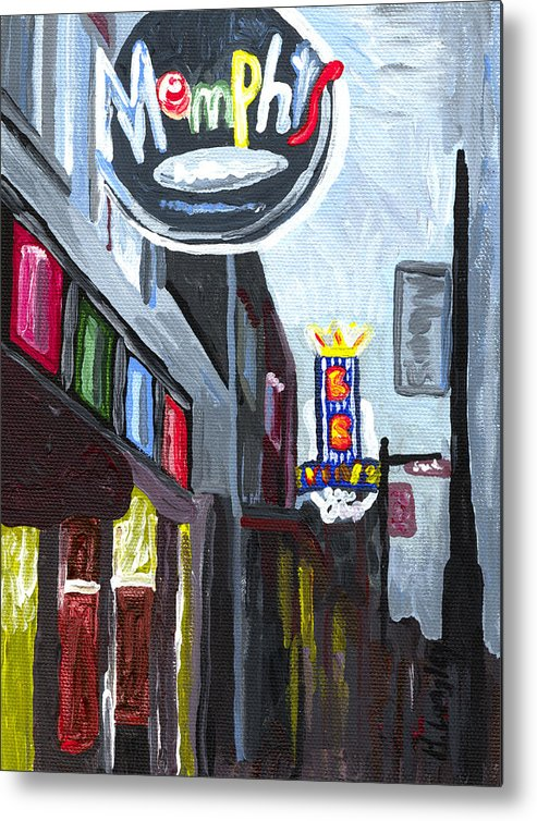 Cityscape Building Memphis Tennessee Beale Street Night Metal Print featuring the painting Memphis by Helena M Langley