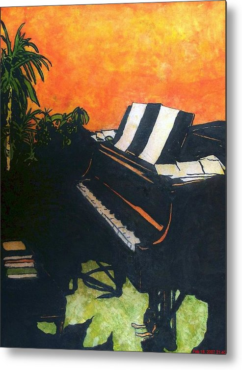 Piano Metal Print featuring the painting Morning Glory by Shane Hurd