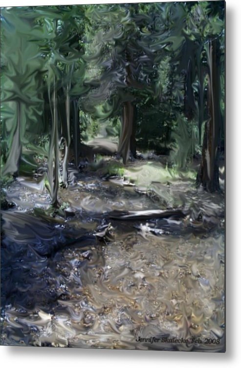 Landscape Metal Print featuring the digital art Mysterious Woods by Jennifer Skalecke