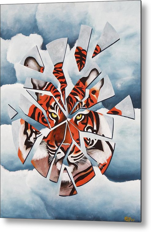 Tiger Metal Print featuring the painting Once I Was A Tiger by Poul Costinsky