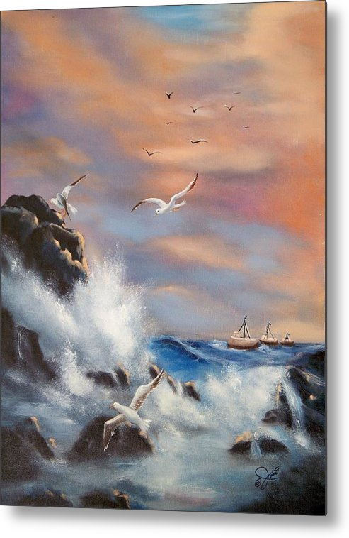 Coast Metal Print featuring the painting Rocky Shore by Joni McPherson