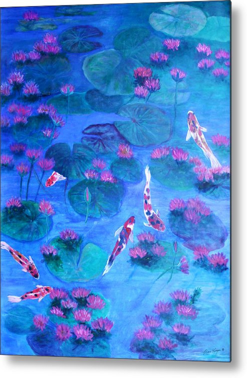 Lily Pads Metal Print featuring the painting Serene Pond by Ben Kiger