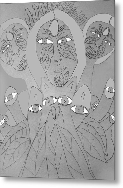 Metal Print featuring the drawing Sketch Idea For Wild Look by Betty Roberts
