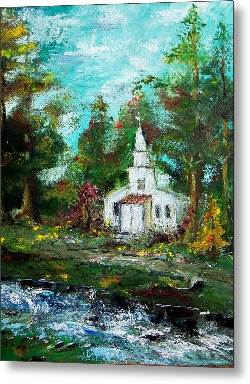 Church Moutain Stream Forest Country Landscape Metal Print featuring the painting Smokey Mountains Church by Lynda McDonald