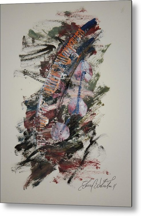 Abstract Oil Color Coding Metal Print featuring the painting Snake In The Grass by Edward Wolverton
