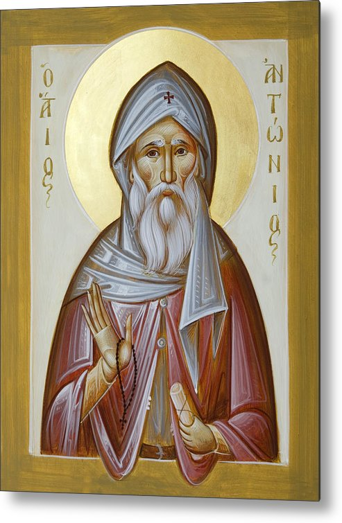 St Anthony The Great Metal Print featuring the painting St Anthony The Great by Julia Bridget Hayes