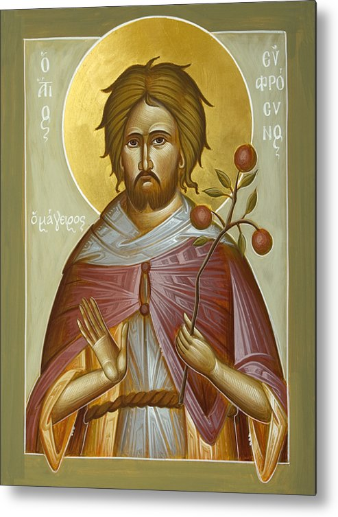 St Euphrosynos The Cook Metal Print featuring the painting St Euphrosynos The Cook by Julia Bridget Hayes
