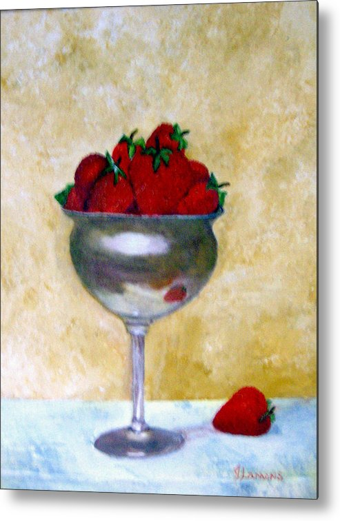 Still Life Metal Print featuring the painting Strawberry Feast by Julie Lamons