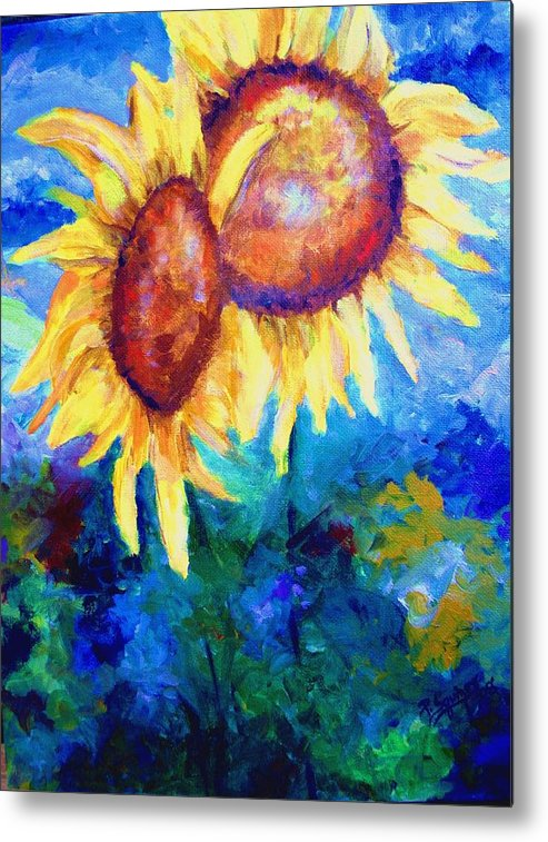 Flowers Metal Print featuring the painting Sunflowers by Pamela Squires