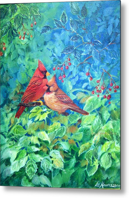 Cardinals;birds;berries; Metal Print featuring the painting Sweet Contentment by Lois Mountz