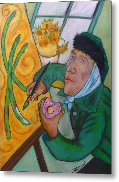 Crayon Metal Print featuring the painting Vincent And The Asparagus by Todd Peterson