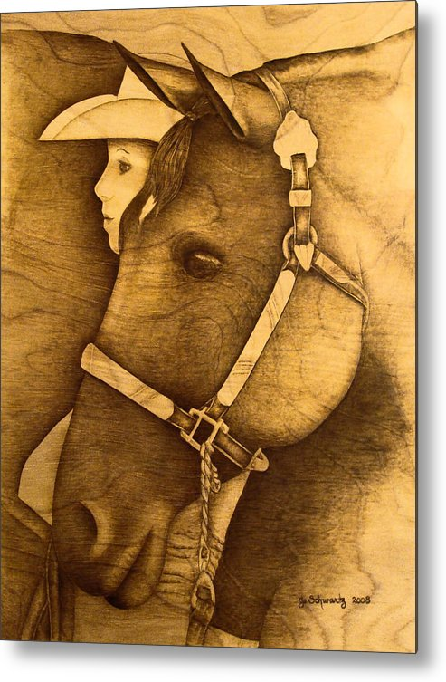 Pyrography;wood Burning; Horse; Western; Halter;cowboy; Hat; Rodeo; Metal Print featuring the pyrography Watching The Competition by Jo Schwartz