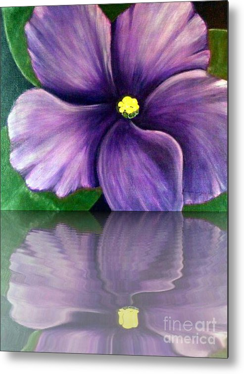 African Violet Metal Print featuring the digital art Watery African Violet Reflection by Barbara Griffin