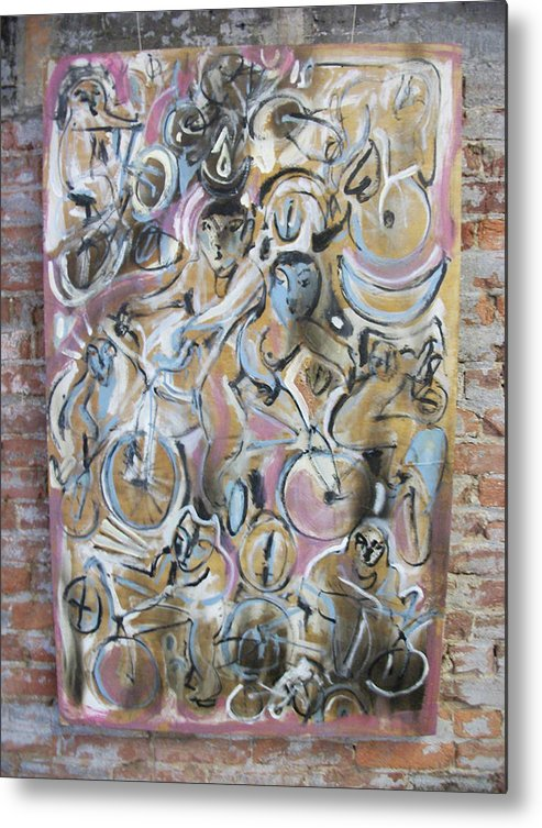 Bicycle Paintings Metal Print featuring the painting We Arrived On Bikes by Dean Cercone