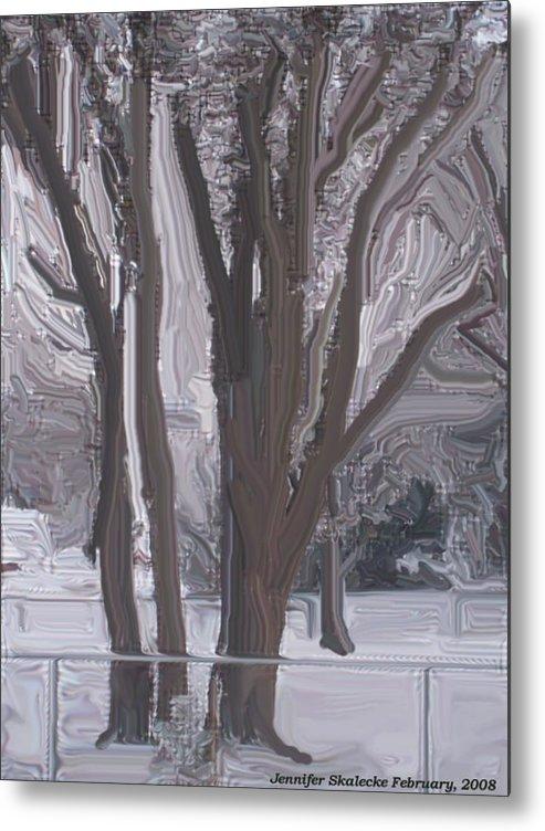 Landscape Metal Print featuring the digital art Winter Trees by Jennifer Skalecke