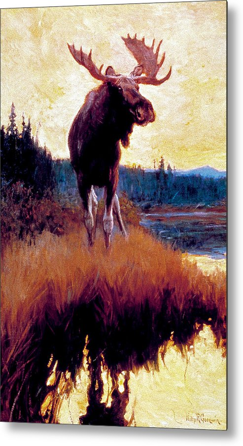 Moose Metal Print featuring the painting Moose Against Skyline by Phillip R Goodwin