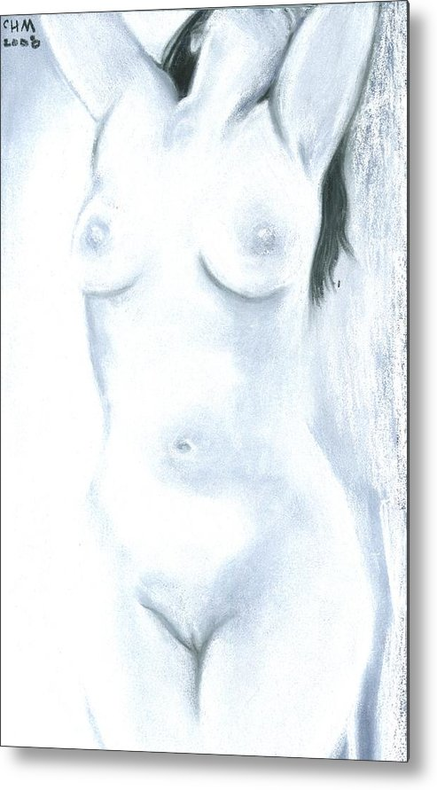 Chalk Charcoal Drawing Erotica Female Nude Sex Sexy Sexual Sensual Metal Print featuring the drawing White Heat by Cartoon Hempman