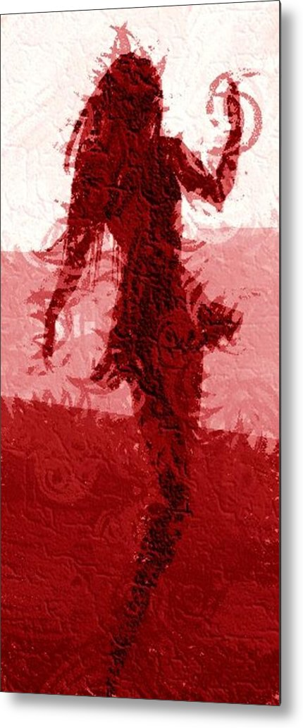 Woman Metal Print featuring the digital art Flaming Raven by Margie Byrne