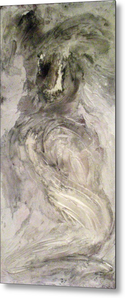 Portraits Metal Print featuring the painting Hawkhair by Kime Einhorn