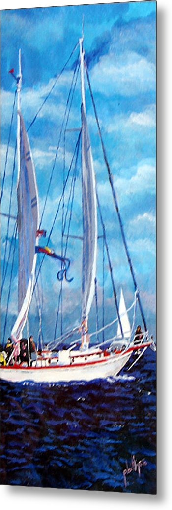 Sailboat Metal Print featuring the painting Profile Of A Sailboat by Jim Phillips