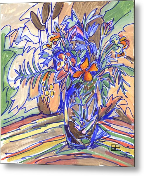 Still Life Metal Print featuring the painting Summer Bouquet by Helen Pisarek