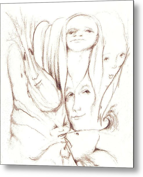 Faces Metal Print featuring the drawing We Are Watching by Stephanie H Johnson