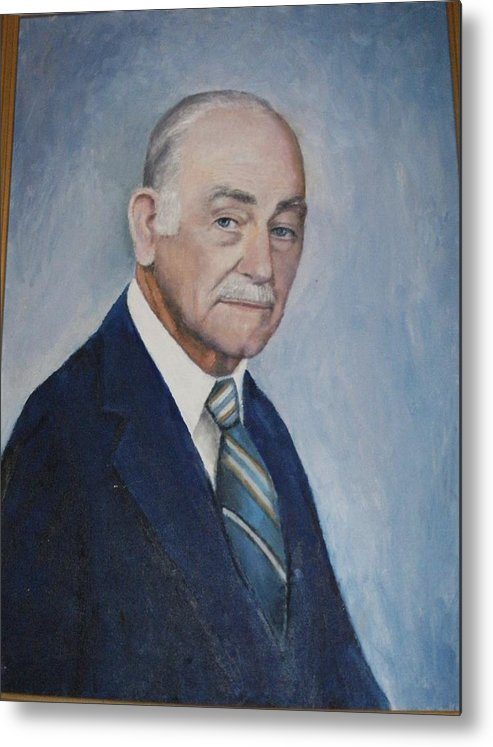 Sefportraitoilsmanartistdistinguished Daddy Love Metal Print featuring the painting Edgar Turner Self-portrait by Anne-Elizabeth Whiteway