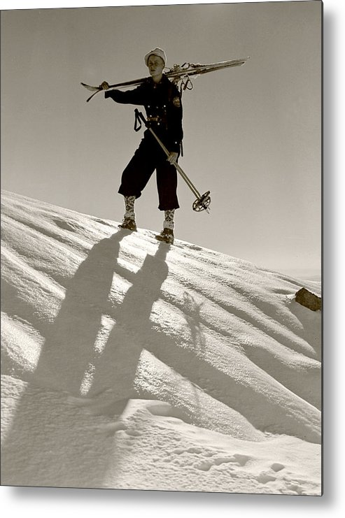 Skiing Metal Print featuring the photograph Skier by Unknown