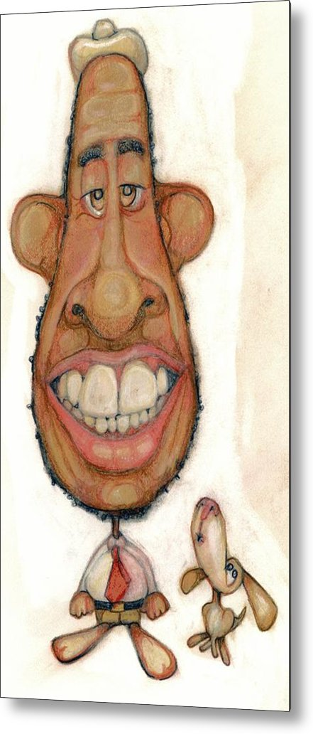 Man Metal Print featuring the drawing Bobblehead No 47 by Edward Ruth