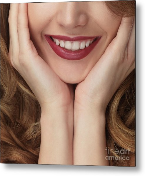 Smile Metal Print featuring the photograph Beautiful Young Smiling Woman by Oleksiy Maksymenko
