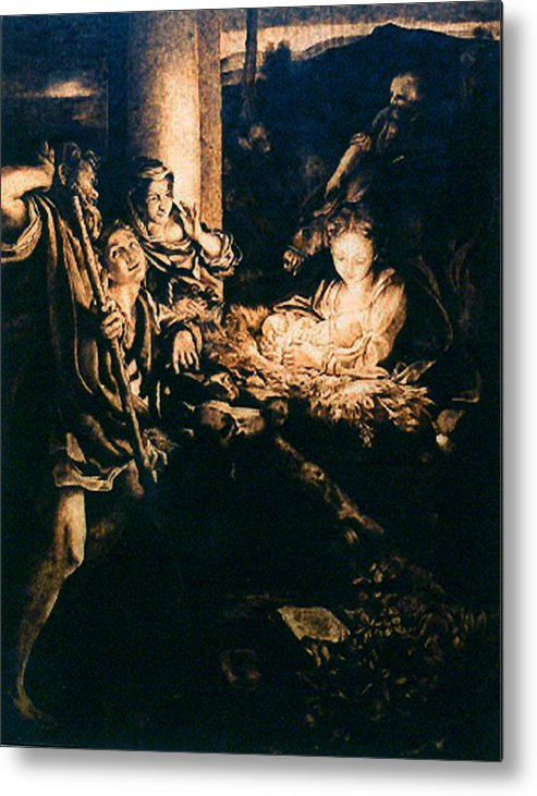 Dino Muradian Metal Print featuring the pyrography Adoration Of The Shepherds by Dino Muradian