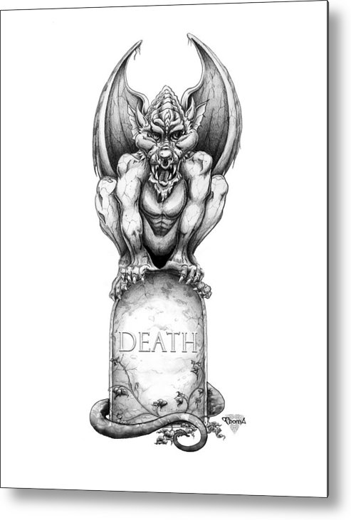 Gargoyle Metal Print featuring the drawing Death by Greg Piszko