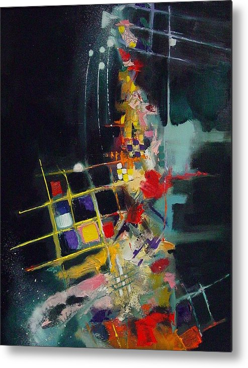 Abstract Metal Print featuring the painting Night At The Tables by Ronald Dykes