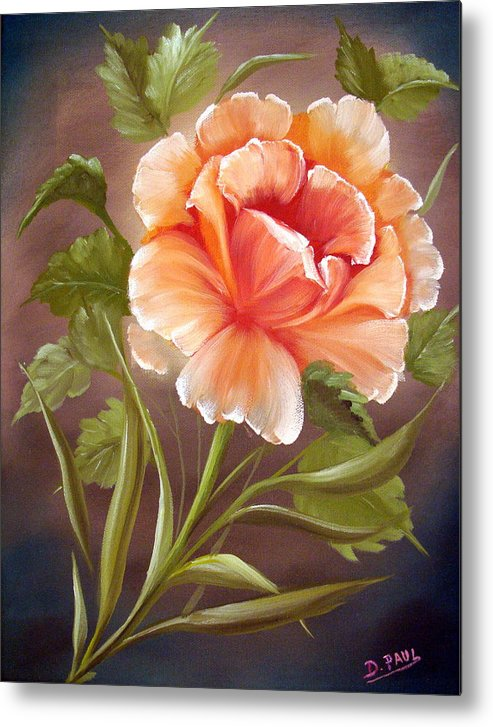 Rose Metal Print featuring the painting Rose Tropicana by David G Paul
