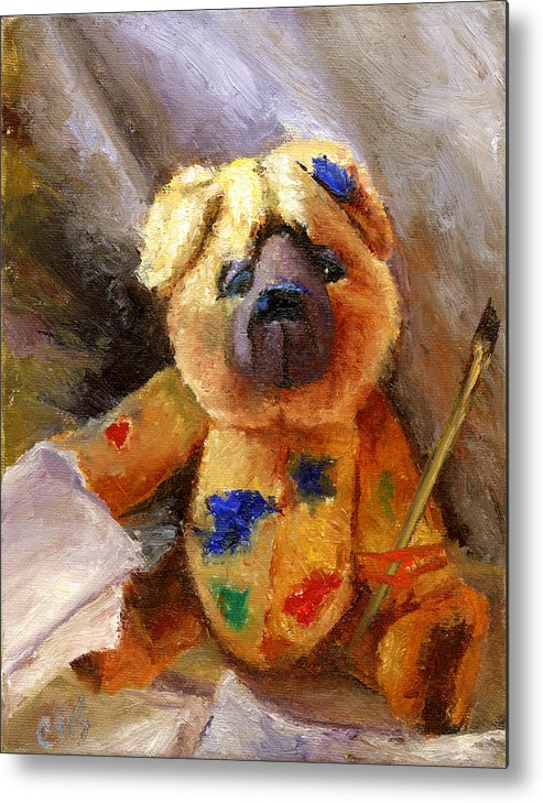Teddy Bear Art Metal Print featuring the painting Stuffed With Luv by Chris Neil Smith