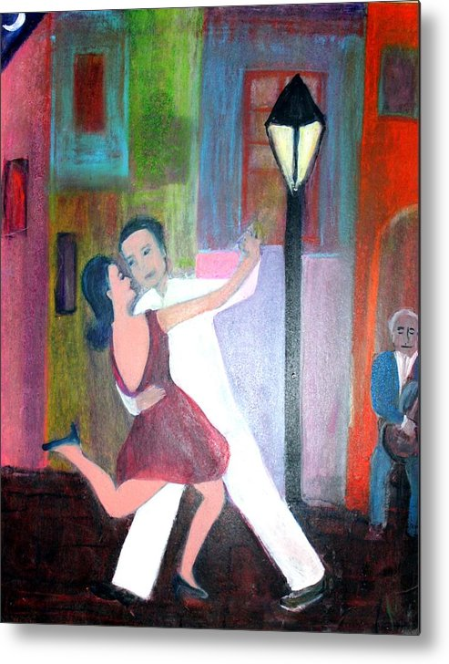 Urban Landscape Metal Print featuring the painting Veux Tu Tango by Michela Akers