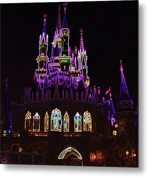Castle Metal Print featuring the photograph Neon Castle by Lindsay Clark