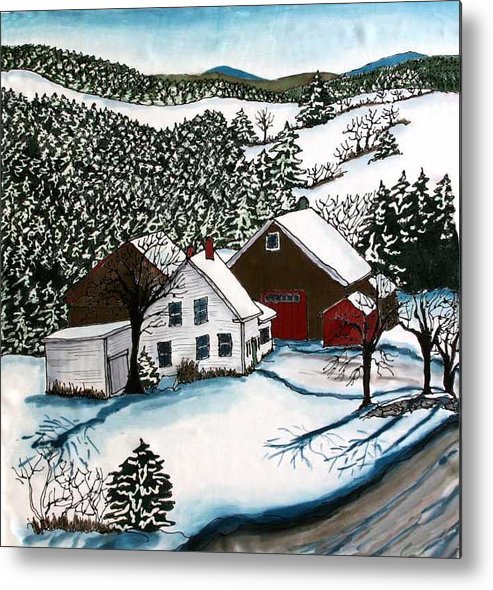 Farm Metal Print featuring the tapestry - textile Old Hutchinson Place by Linda Marcille
