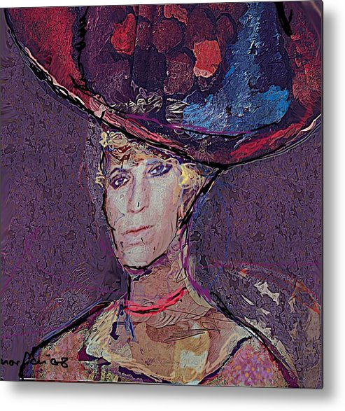 Hat Metal Print featuring the painting Red Hat by Noredin Morgan